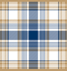 Blue beige white checkered plaid seamless pattern vector