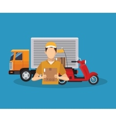 Box truck and man of delivery concept design vector
