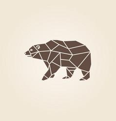 brown bear abstract geometric polygon vector image vector image