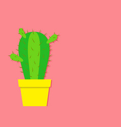 Cactus icon in flower pot desert prikly thorny vector
