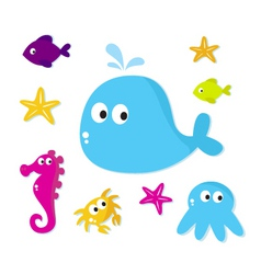 cartoon sea animals fishes vector image vector image