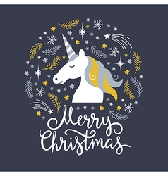 Christmas with unicorn vector image vector image