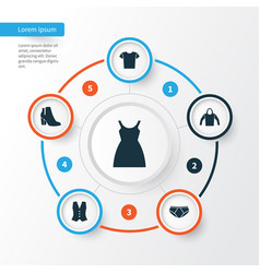 Clothes icons set collection of casual dress vector