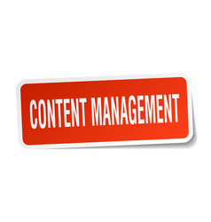Content management square sticker on white vector