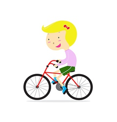 Cute happy girl riding bicycle vector image vector image