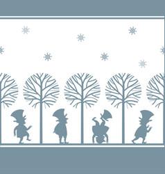 endless border with leprechauns in winter garden vector image vector image