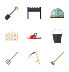 Flat icon farm set of hay fork wooden barrier vector