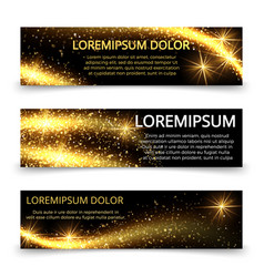 Golden glittering magic sparkle stardust banners vector
