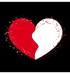 Halves heart icon on black 1 vector image