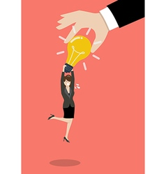Hand stealing idea light bulbs from business woman vector image