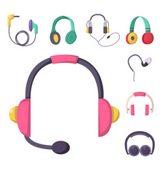headphones set music technology accessory vector image vector image