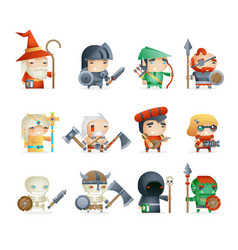Heroes villains minions fantasy rpg game character vector
