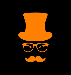 Hipster accessories design orange icon on black vector