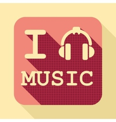 I love music flat retro vintage icon vector image vector image