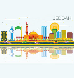 Jeddah skyline with color buildings blue sky and vector