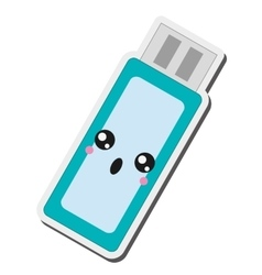 kawaii usb flash drive icon vector image