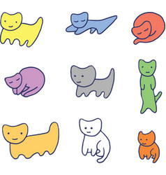 Minimal colorful funny kittens vector