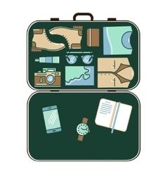 Modern tourist stuff in suitcase vector image