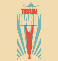 muscular man posing on train hard text vector image vector image