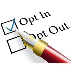Opt In choice option vector image