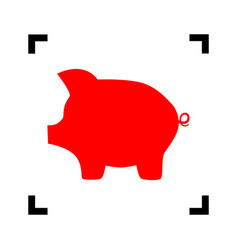 Pig money bank sign red icon inside black vector