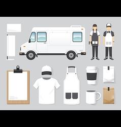 restaurant cafe design set street food truck shop vector image vector image