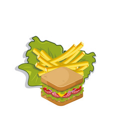 Sandwich with salad and french fries vector