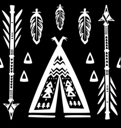 seamless pattern with wigwams and arrows vector image vector image
