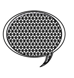 Silhouette oval speech with metal grid of vector