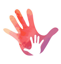 small hand in big hand water colour texture vector image vector image