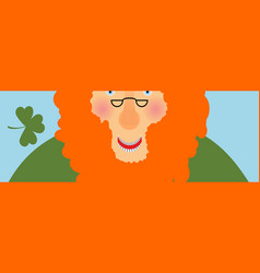 st patricks day banner leprechaun face head with vector image vector image