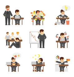 Stress at work icons set vector image