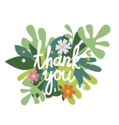 Thank you floral design vector