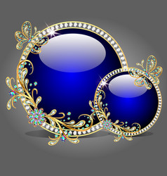 two glass bowl with butterflies made of precious s vector image vector image