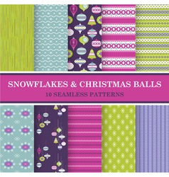 10 Seamless Patterns - Snowflakes and Xmas Balls vector image vector image