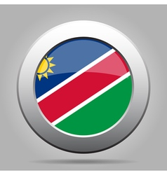 Metal button with flag of namibia vector