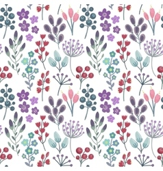 Seamless pattern with flowers leaves branches vector