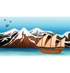 A boat floating near the mountain area vector