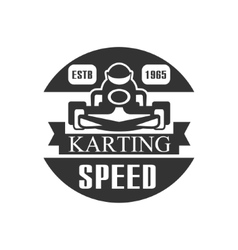 Karting Club Speed Racing Black And White Logo vector image