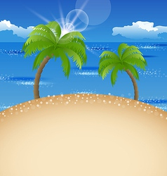 Summer holiday background with beach palm sky vector image
