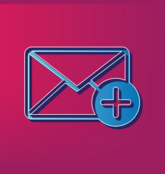 mail sign with add mark  blue vector image