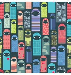 Seamless pattern with colorful ghosts vector image