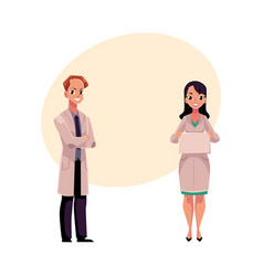 Male and female doctors in medical coats man and vector