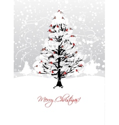 Christmas card design with winter tree and vector