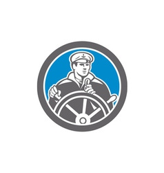 Fisherman sea captain circle retro vector