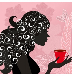 Girl with the flower tea vector