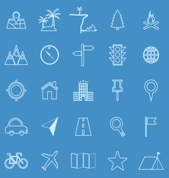 Location line icons on blue background vector