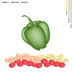 Green bell peppers with vitamin c b6 and k vector