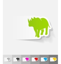Realistic design element rhino vector