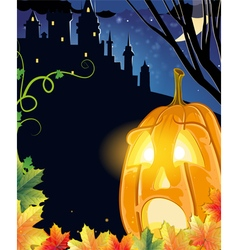 Jack o lantern near the old castle vector